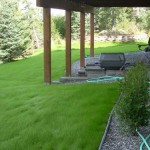 Alaska Residential Landscaping Residential Gravel House Border Shrub Plantings and Allen Block Patio Retaining Wall System - After