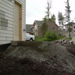 Alaska Residential Landscaping Residential Keystone Retaining Wall System with Steps - Before