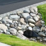 Alaska Residential Landscaping Residential Rock Culvert with I-brick Paver Driveway Border - C