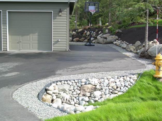 Residential Gravel Driveway Border Rock Culvert And Perennial