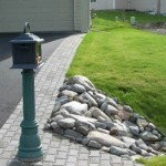 Alaska Residential Landscaping Residential Rock Culvert with I-brick Paver Driveway Border - B